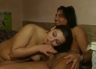 Auntie sucks her relative in the bedroom