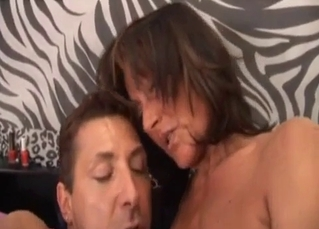 Real big-boobed mom plays with naked son