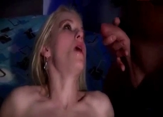 Blonde sister is sucking two brothers
