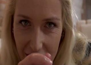 Glamorous blonde MILF jerks my sausage