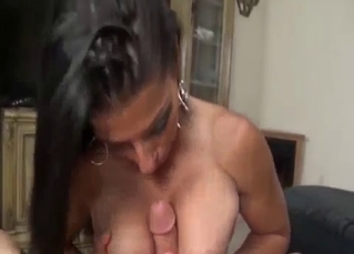 Busty brunette sister gives me a blowjob