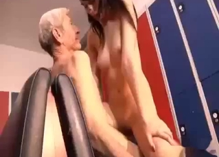 Granddad fucks a granddaughter in cowgirl pose