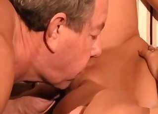 Daddy licks a tight wet hole of his daughter