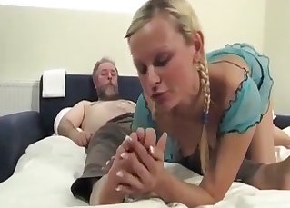 Old man and sexy niece have nice sex