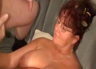 Uncle cums on the big boobs of BBW auntie