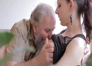 Dirty old man and young hottie have sex