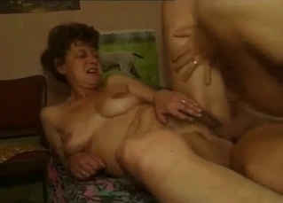 Fat old mom with big boobs fucks with son
