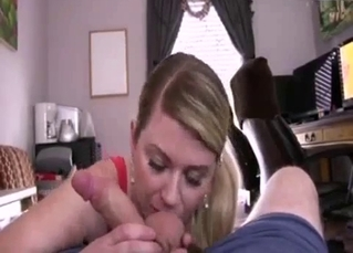 Gorgeous mommy gives a blowjob in POV mode