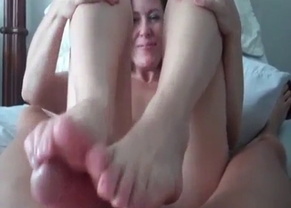 My sister knows how to give a footjob