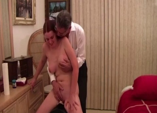 Busty doll and daddy in the bedroom