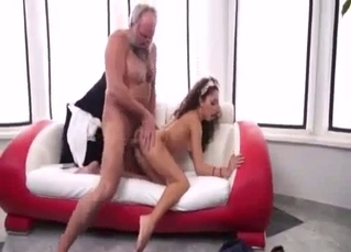 Old man and curvy granddaughter in doggy style