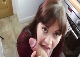 Sensual mom is sucking a huge boner on knees