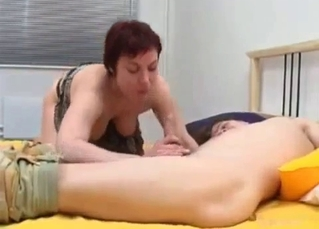 Young man licks a pussy of his sister