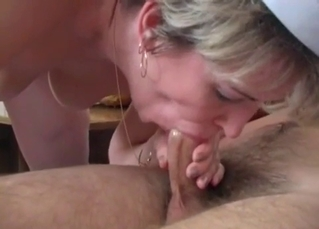 Mom in stockings sucks a dick with love