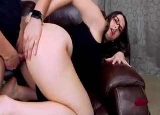 Brunette and uncle fuck in doggy style