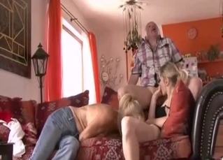 Mom licks a tight pussy of her daughter