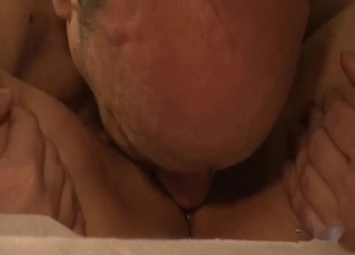 Skinny young daughter sucks her daddy