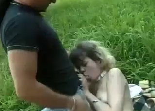 Kidnapped sister gets fucked on grass