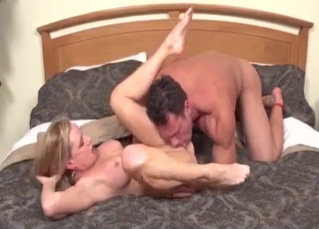 Muscled son licks a pussy of his hot mommy