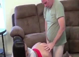 Big-tit daughter bangs with her lusty dad