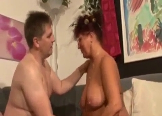 Old fat mom sucks a dick of her fat son