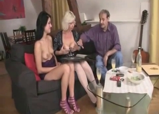 Mom and daughter fuck with a horny old dad
