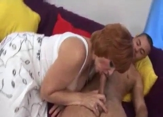 Nephew plays with big boobs of his auntie