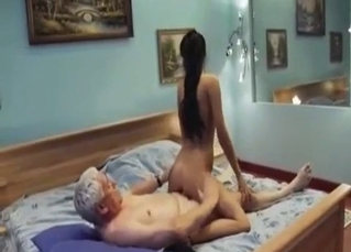 Filthy grandpa fucks a slender granddaughter