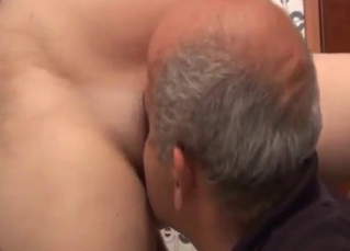 Pigtailed brunette jerks and sucks her daddy