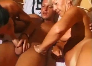 Mom and daughter are pleasing a hot young son