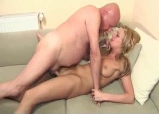 Busty daughter sucks her fat dad with love