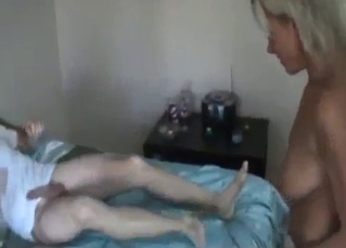 Big-tit auntie knows how to please right