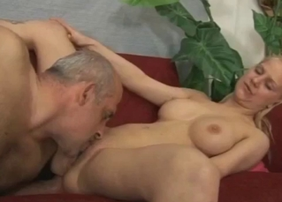 Busty daughter gives a head for her daddy