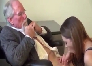 Seduced daughter sucks her lovely old daddy