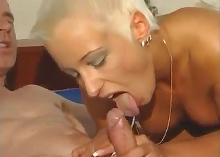 Blonde auntie sucks a boner of a horny uncle