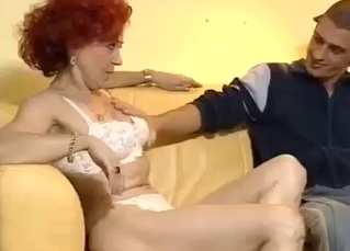 Redhead mom tits licked by nasty son