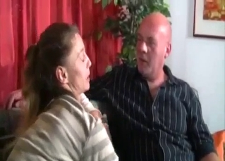 Old female gives a blowjob for her fat brother
