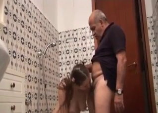 Dad licks a cunt of a busty daughter