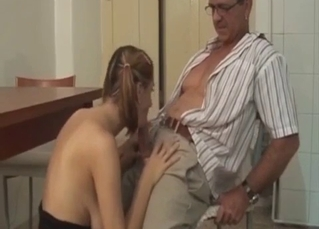Sexy daughter sucks her own daddy