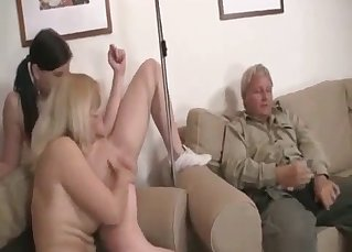 Mom blonde licks a pussy of her sexy daughter