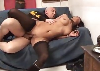 Slender brunette got fucked by her own daddy