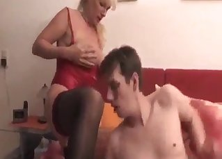 Son licks his mother's shaved pussy