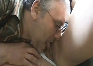 Old dad fucks his busty daughter in forest