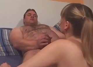 Good-looking hottie is sucking a daddy's dick