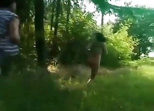 Two sexy sisters are fucking in forest