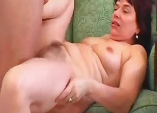 Big-boobed mom sucks her own son