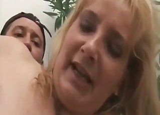 Mom with hairy crack fucks with son