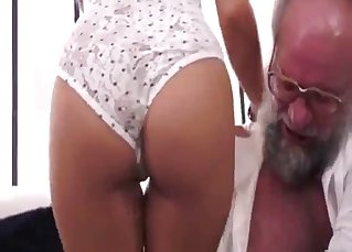 Old man undressed his sexy granddaughter