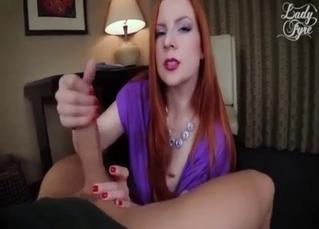 Glamorous redhead mom jumps on a boner