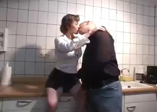 Sexy sister seduced her bald brother